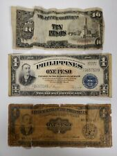 3 Philippines Notes Japanese Occupation 10 Pesos Victory 1 Pesos 1940 1 Pesos
