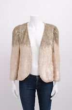 PARKER Two Tone Brown Pink Nude Sequin Long Sleeve Shawl Collar Bolero Jacket S