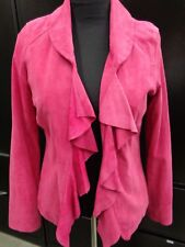 White House Black Market Pink Leather Jacket w Ruffles NEW WITH TAGS New $298