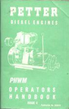 PETTER PHWM DIESEL ENGINE ORIGINAL 1975 FACTORY OPERATORS HANDBOOK