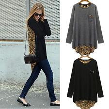 Women Long Sleeve Asym Hem Leopard Print Casual Tops T shirt Blouse Plus size