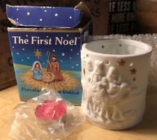 New ListingRuss Porcelain Bisque Christmas Candle Votive The First Noel Three Wiseman Stars