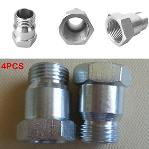4Pcs Car Metal O2 Oxygen Test Pipe Extension Spacer Extender Adapter M18 X 1.5