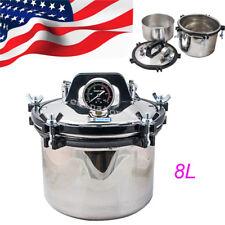 USA 8L Dental Medical lab Pressure Steam Autoclave Sterilizer sterilization 1KW
