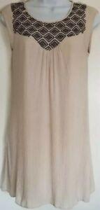 Short Summer Dress YA LOS ANGELES or Long Top Small S Beige Black Las Gauze