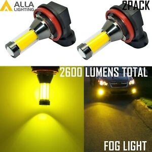 Alla Lighting H8 Golden Yellow Fog Light Bulb Safety Enhanced Color 3000K Lamp