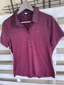 Under Armour Womens Striped Short Sleeve Collared Pink Polo Shirt Size Large