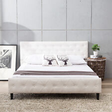 Queen Size White PU Leather Button Tufted Upholstered Platform Metal Bed Frame