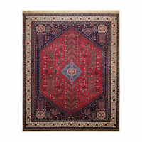 8' x 10' Hand Knotted 300 KPSI Abbadeh Rectilinear Medaliion Area Rug Red