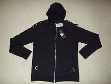 NWT VTG Royal Bones Daang Hot Topic Zip Front Hoodie Skull Studed Black sz Large