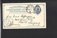 NEW YORK A, NEW YORK 1889 GOVERNMENT POSTAL CARD,TRANSATLANTIC TO GERMANY.