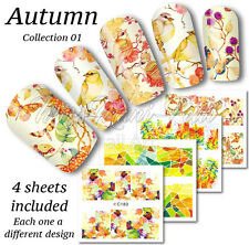 4x Full Cover Nail Art Water Stickers Wraps Transfers Autumn Leaves Birds Z239