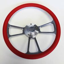 "1955 1956 Chevrolet Bel Air Red and Billet Steering Wheel 14"" polished cap"