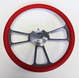 "1955 1956 Chevrolet Bel Air Red and Billet Steering Wheel 14"" polished cap"