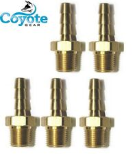 """5 Pack Lot Brass 3/16"""" Hose Barb x 1/8 NPT Male Pipe Thread Fittings Coyote Gear"""
