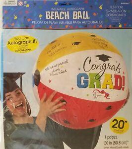 "'Congrats Grad' Graduation Autograph Beach Balls 20"" Blue White Yellow Red"