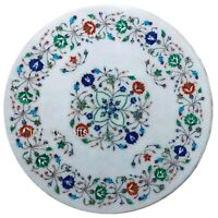 18 Inches Marble End Table Round Shape Coffee Table Marquetry Art Home Assents
