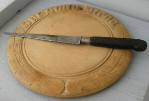 "ANTIQUE WOODEN ROUND BREAD BOARD ""OUR DAILY BREAD"" W/WHEAT PATTERN & KNIFE"