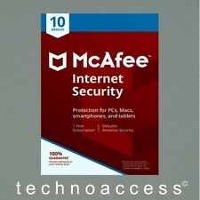 MCAFEE INTERNET SECURITY 2018 10 DEVICE 1 YEAR RETAIL VERSION (DOWNLOAD ONLY)