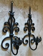 Vintage 1920's Spanish Revival Tudor Gothic Large Wall 2 Sconces