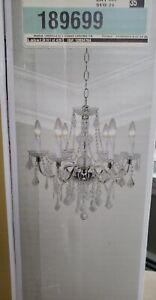 New in Box Hampton Bay Maria Theresa 6-Light Chrome and Clear Acrylic Chandelier