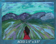 Original ACEO - Abstract - A Long Journey Ahead - miniature acrylic painting