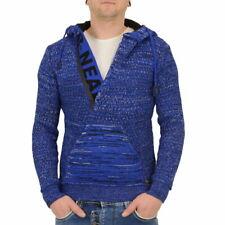 Rusty Neal Männer Strick-Pullover Mit Kapuze blau meliert Hoody Hoodie Sweater