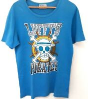 Baleno One Piece Mens Blue Luffy Pirates Skull Print Design T Shirt Tee Size XL
