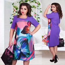 Women's PLUS SIZE 6XL Clothes purple Butterfly print Dress Fashion Bodycon Dress