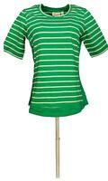 Denim & Co. Women's Top Sz XS Active Striped Scoop Neck Green A278981