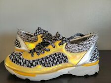 CHANEL Gold hologram & TWEED CC logo Lace Up Sneakers Sz 42 - AG30442 42 $$$