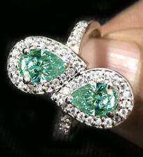 Pear 925 Sterling Silver Engagement Ring 3.10 ct vvs1= Blue Moissanite Diamond