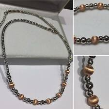 """FANCY SILVER NECKLACE CHAIN WITH ROSE GOLD PLATED BEADS 16""""-18"""" 019-17"""