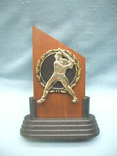 Baseball solid walnut snap gold and black relief award