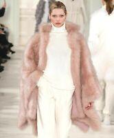 $4,495 Ralph Lauren PURPLE LABEL Fur Shearling Poncho Dress Cape Coat 6 8 Medium