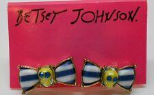 Betsey Johnson Ship Shape Bow With Yelllow Skulls & Blue Eyes Post Earrings