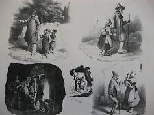Lithographie ancienne originale Bellangé costumes romantisme soldats paysans