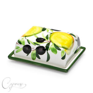 Bassano Ceramic Butter Dish Lemon With Olive Motif 2in High from Italy New