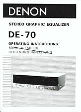 Denon user manual Bedienungsanleitung für DE- 70 englisch  Copy