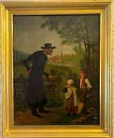 19C American Folk Art Antique Oil painting on canvas, Minister&Children Unsigned
