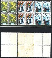 Australia 1966 Hinged 1st Decimal Stamp Blocks 4x 1c +2c +4c - Antarctica issues