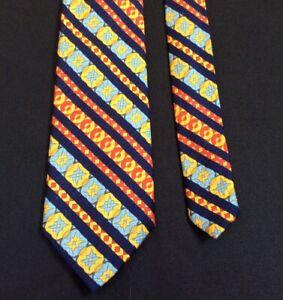 Vintage Haband Necktie Multicolor Woven Design Mod Retro Disco 1960's Palo Alto