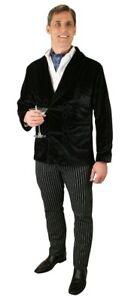 Mens Black Velvet Smoking Jacket Elegant Wedding Party Wear Dinner Blazer Coat