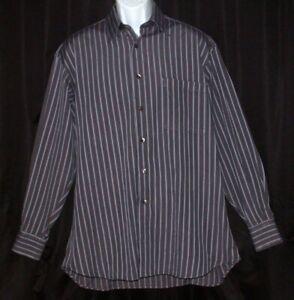 IKE BEHAR NY Mens Size 16 34 Blue Stripe Long Sleeve Button Dress Shirt Cotton