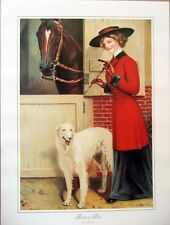 art print~Ready To Ride~Victorian lady Horse Riding Borzoi dog vtg repr 18x24