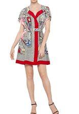 new LISA HO STUNNING SILK CITY PRINT DRESS W/ BELT 12 ( 14 / 16)