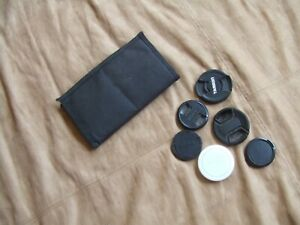 Mixed Lot Of 6 Camera Lens Caps up to 62mm mainly Sony + Carry Wallet