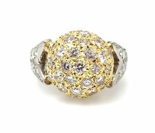 Diamond Pave Ball Ring with 2.60 ct in Platinum/18k Yellow Gold - HM1410