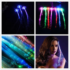 2 x LED Hair Extensions Girls Gift Party Bag Clip Pony Tail Fiber Optic Light Up