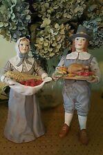 Vintage Ceramic Thanksgiving Pilgrim Couple Set Statue Figurine Autumn Euc 12�